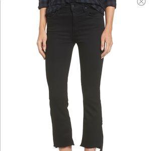 MOTHER Denim Black Crop Insider Jeans 30